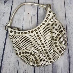 DANIER   studded metallic leather slouchy hobo bag